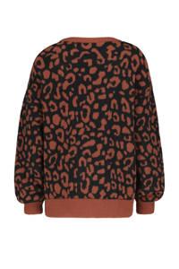 HEMA trui met panterprint zwart/roodbruin, Zwart/roodbruin