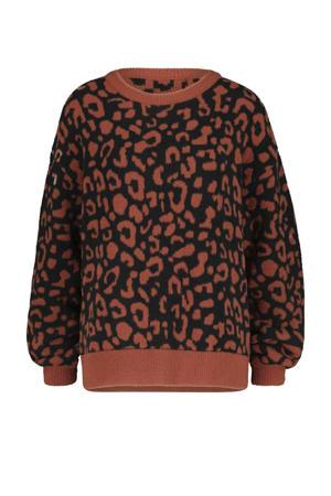 trui met panterprint zwart/roodbruin