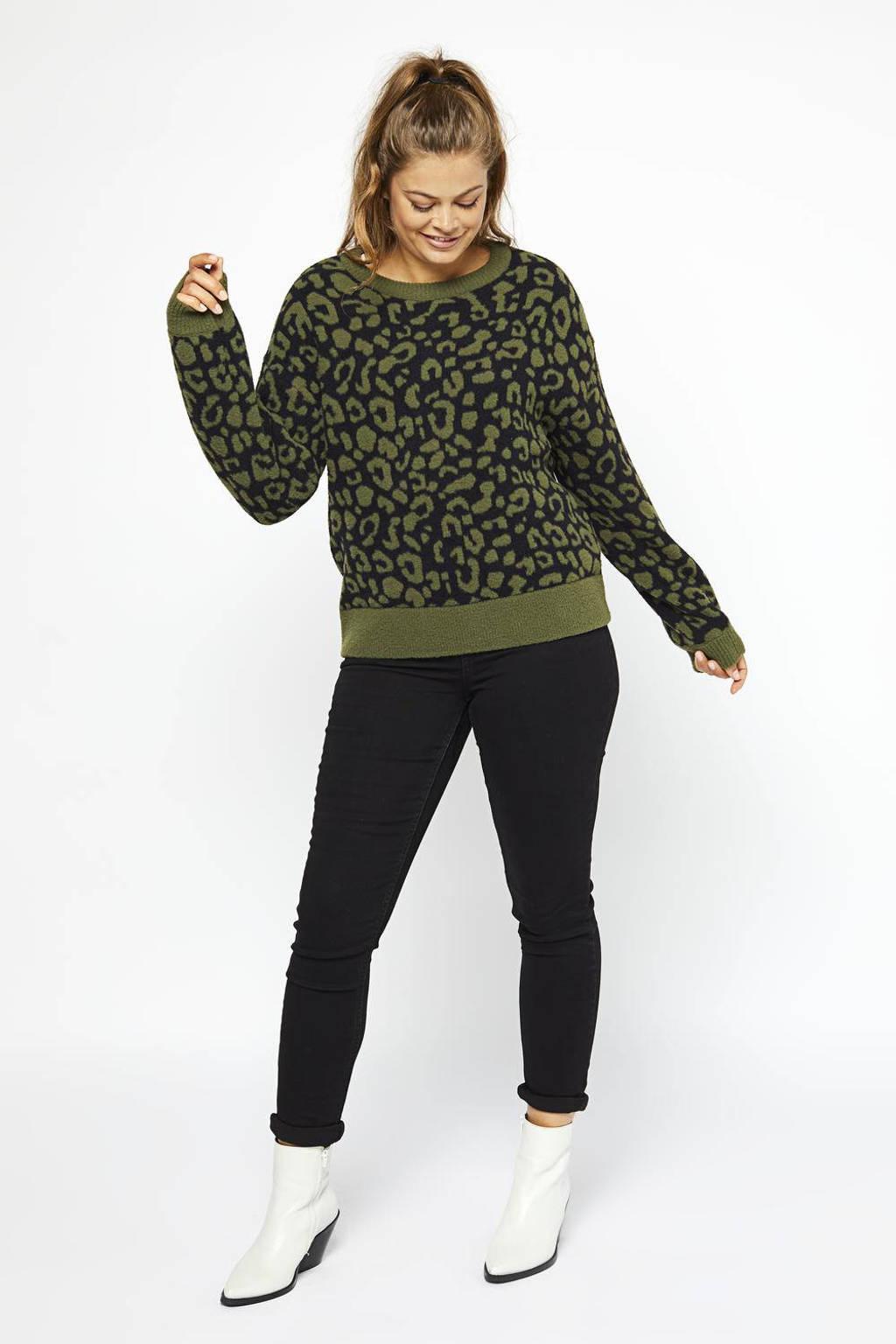 HEMA trui met panterprint zwart/olijfgroen, Zwart/olijfgroen
