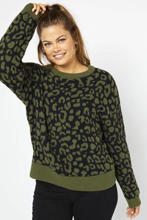 trui met panterprint zwart/olijfgroen