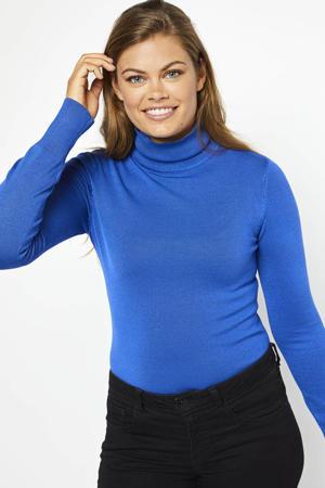 fijngebreide top met col blauw