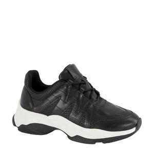 sneakers crocoprint/zwart