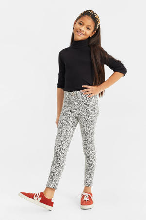 super skinny legging met all over print wit/zwart