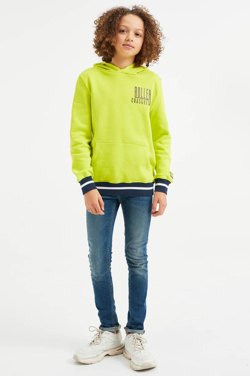 WE Fashion hoodie met tekst neon geel/donkerblauw/wit, Neon geel/donkerblauw/wit