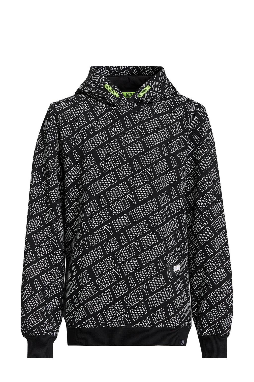 WE Fashion Salty Dog fleece hoodie met tekst zwart/wit, Zwart/wit