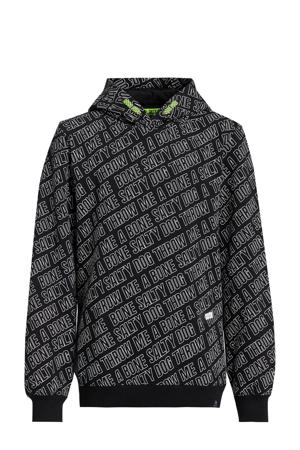 fleece hoodie met tekst zwart/wit
