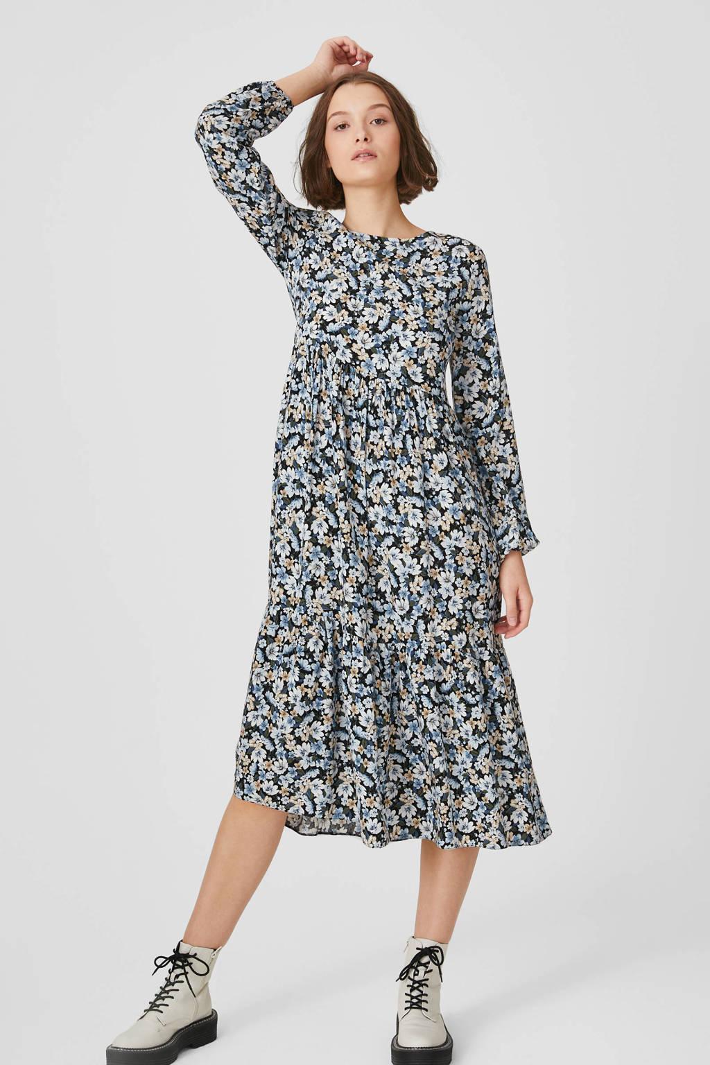 C&A Clockhouse gebloemde maxi jurk blauw/zwart/beige, Blauw/zwart/beige