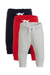 C&A Baby Club joggingbroek - set van 3 donkerblauw/rood/lichtgrijs, Donkerblauw/rood/lichtgrijs