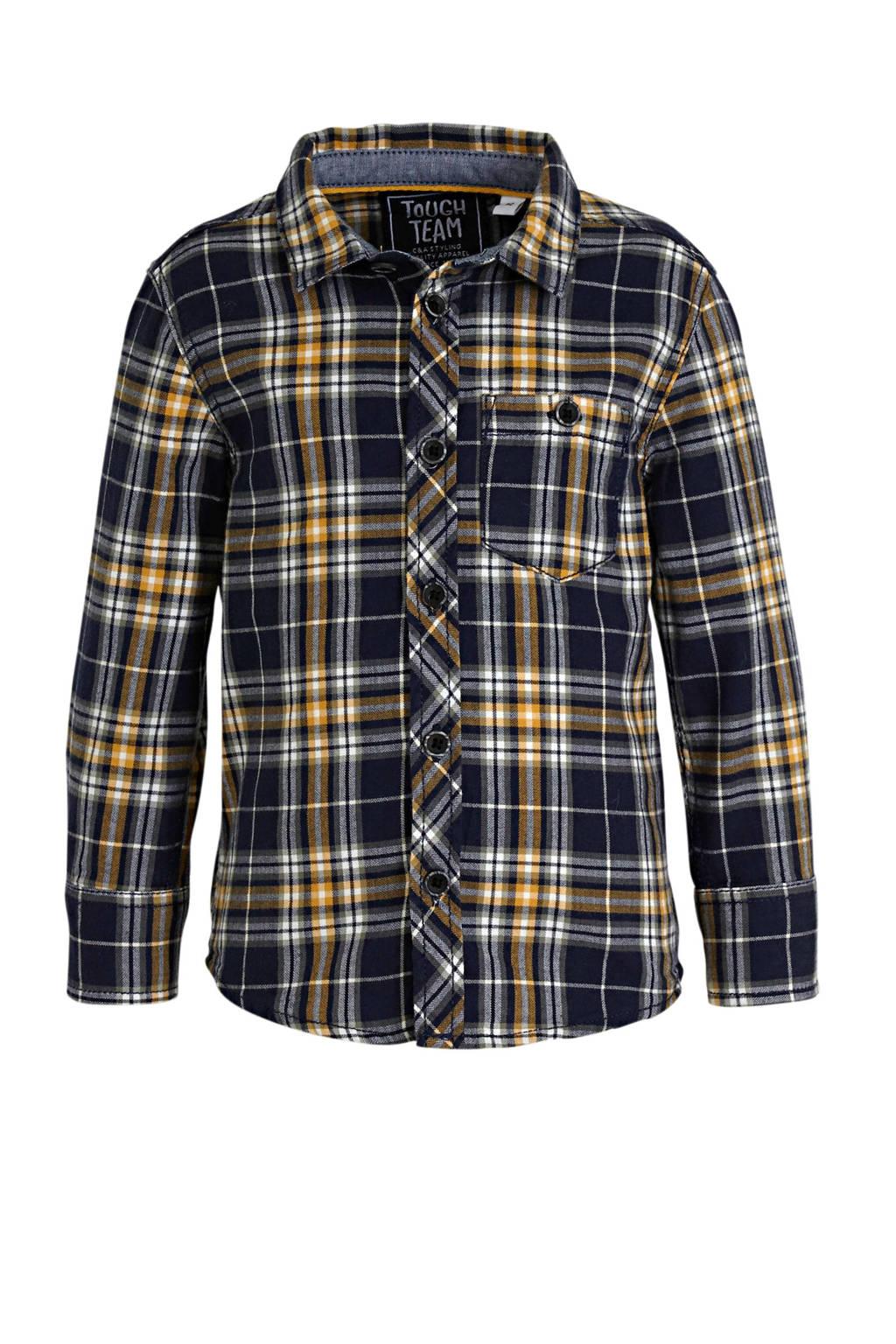 C&A geruit overhemd donkerblauw/geel, Donkerblauw/geel