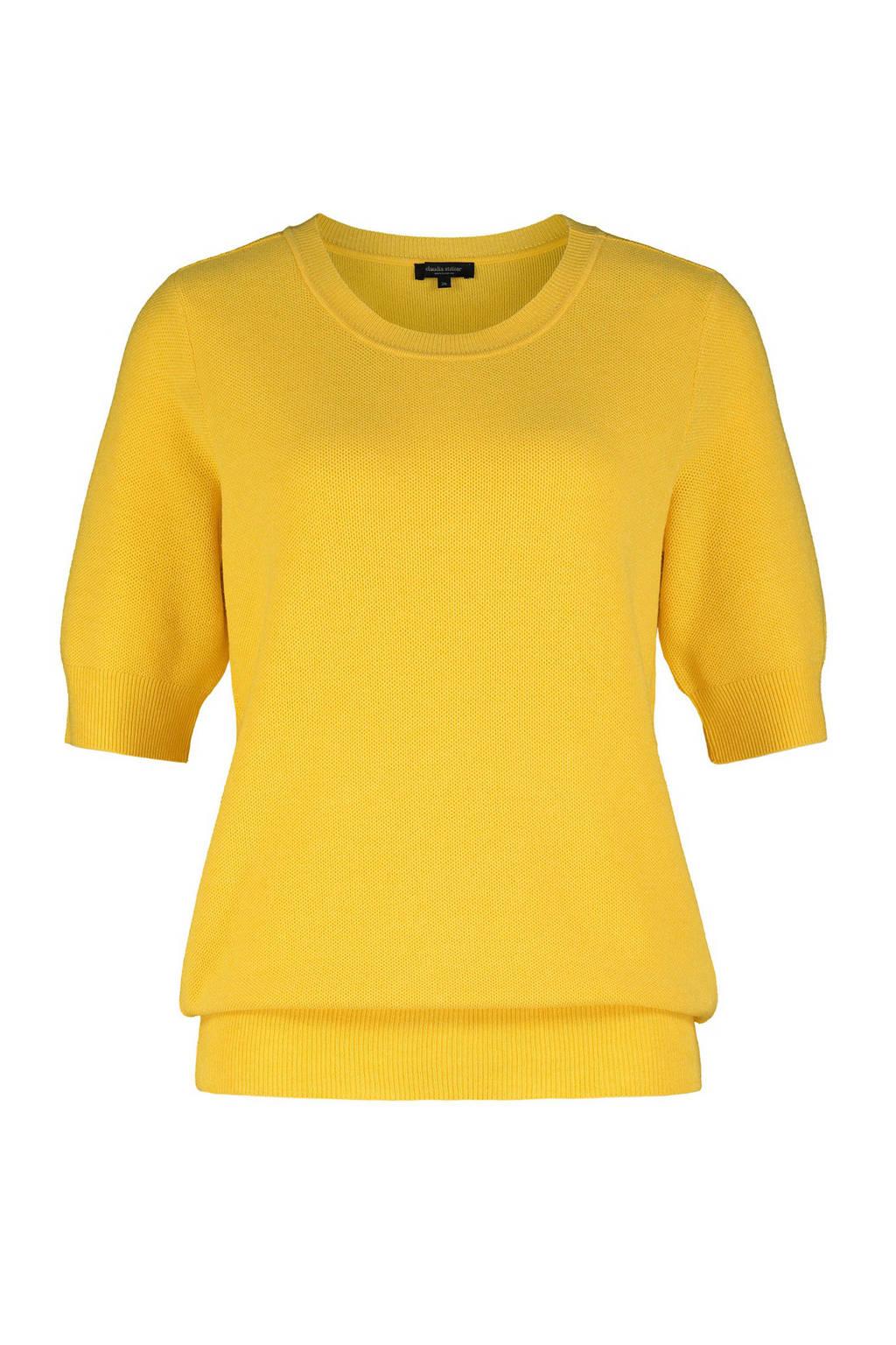 Claudia Sträter ribgebreide trui geel, Geel