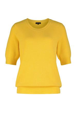 ribgebreide trui geel