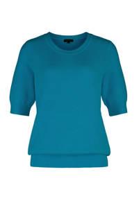 Claudia Sträter ribgebreide trui turquoise, Turquoise