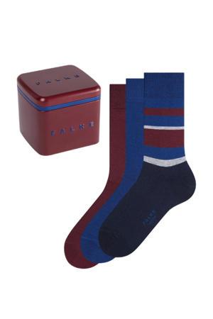 Giftbox Happy sokken - set van 3 blauw/bordeauxrood