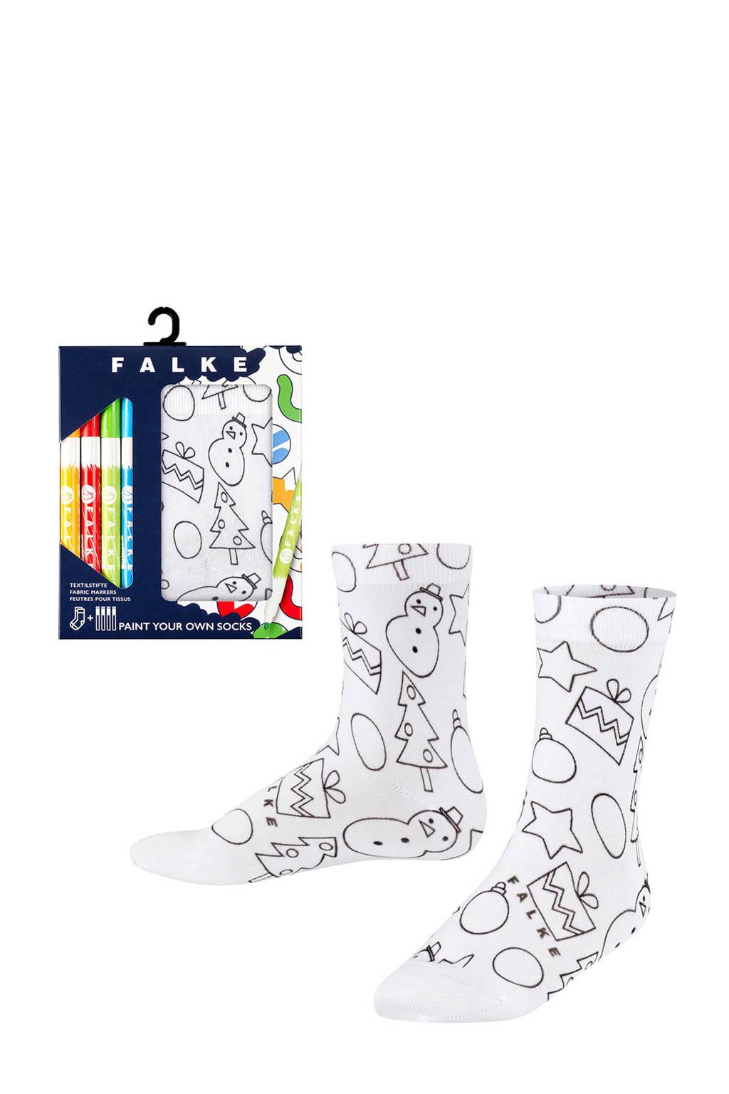 FALKE X-mas Paint sokken met inkleurbare print, Wit