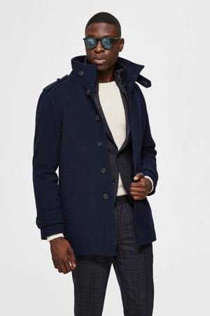 jas met wol donkerblauw