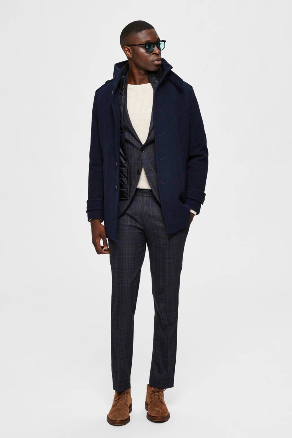 SELECTED HOMME jas met wol donkerblauw, Donkerblauw