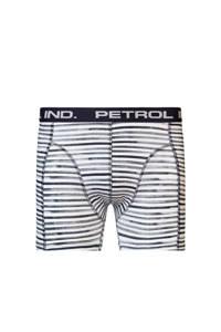 Petrol Industries   gestreepte boxershort wit/zwart, Wit/zwart