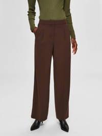 SELECTED FEMME high waist straight fit pantalon bruin, Bruin