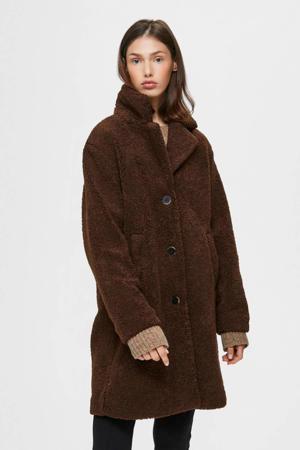 coat winter donkerrood