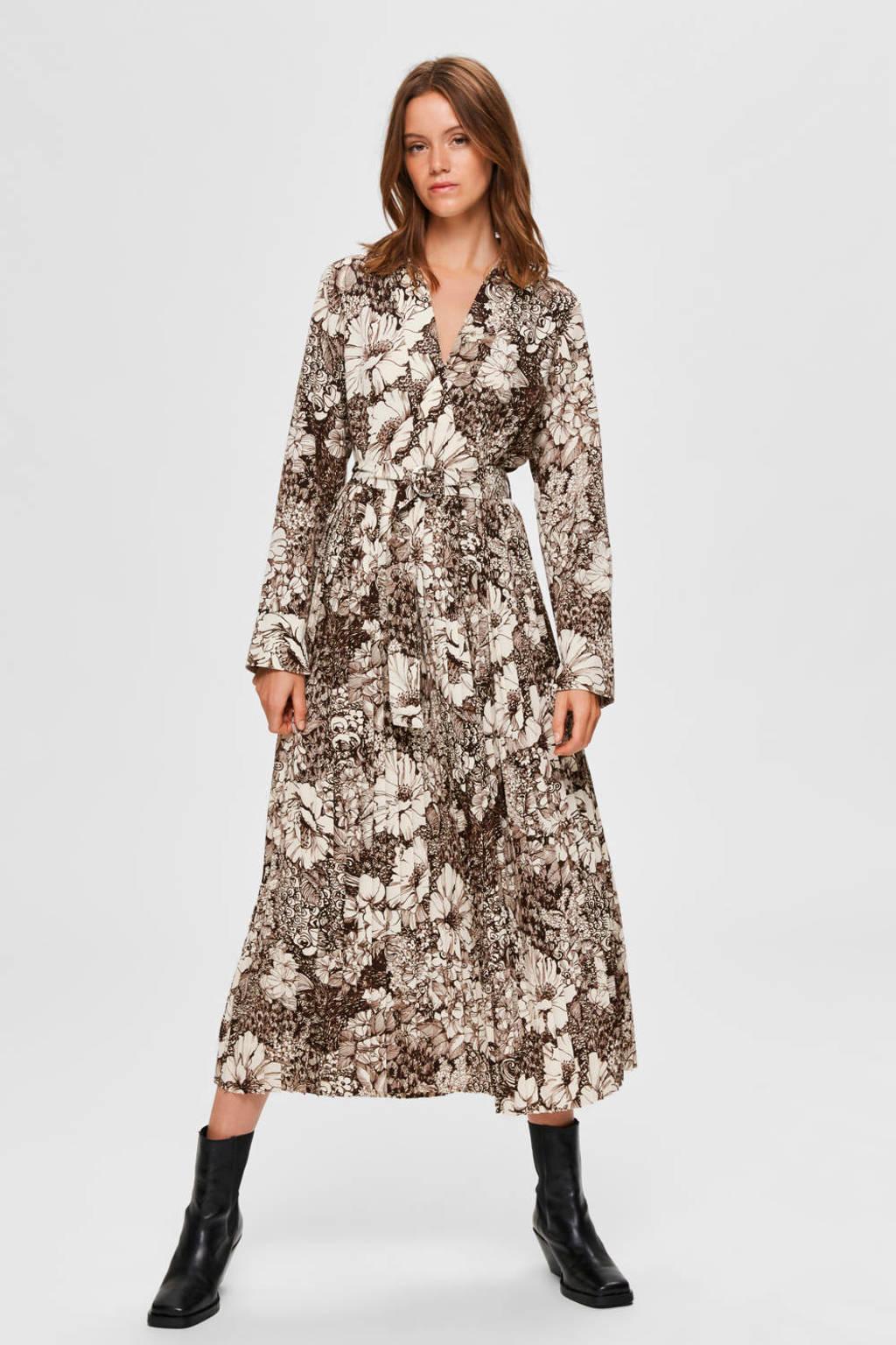SELECTED FEMME maxi jurk Zuri met all over print en ceintuur grijs, Grijs