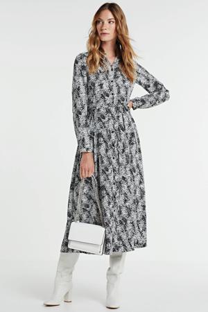 blousejurk met all over print zwart/wit