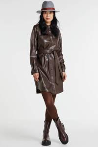 PIECES imitatieleren blousejurk Rena met ceintuur bruin, Bruin