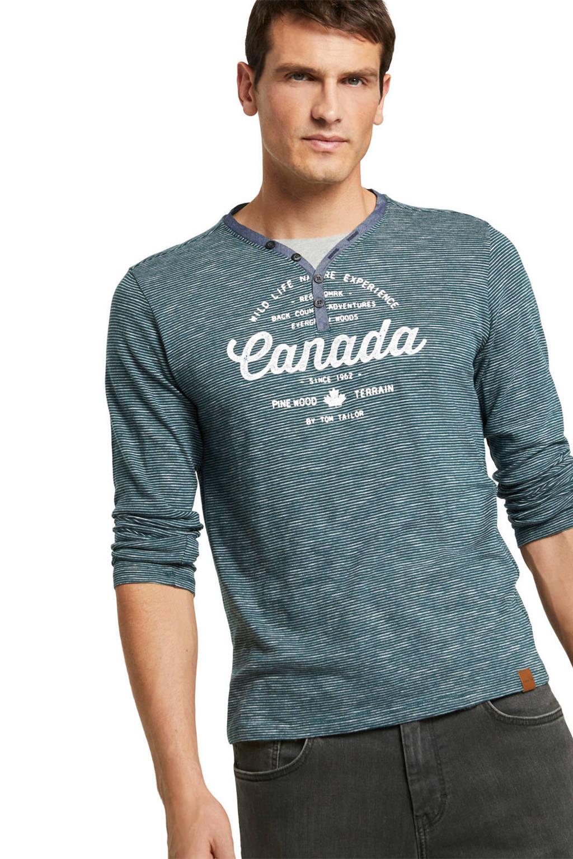 Tom Tailor gestreept slim fit T-shirt blauw, Blauw