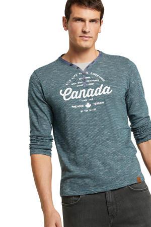 gestreept slim fit T-shirt blauw