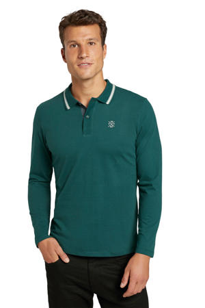 regular fit polo met contrastbies groen