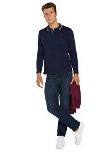 Tom Tailor regular fit polo met contrastbies donkerblauw, Donkerblauw