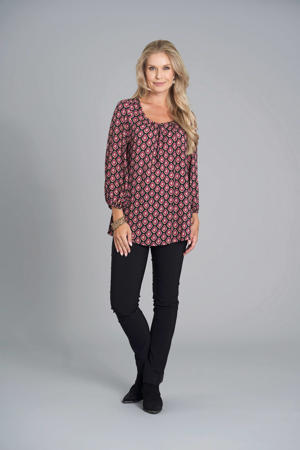 top met all over print en open detail fuchsia/zwart/oranje