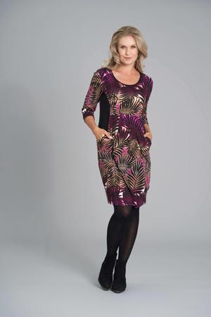 jurk met all over print fuchsia/zwart/oranje