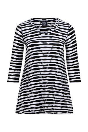tuniek met zebraprint en open detail zwart/wit