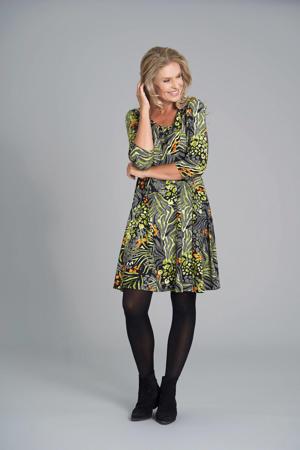 A-lijn jurk met all over print zwart/groen/oranje