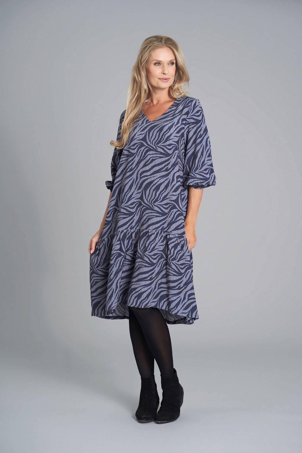 PONT NEUF jurk met zebraprint en plooien paars, Paars