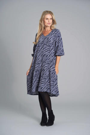 jurk met zebraprint en plooien paars