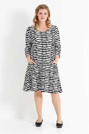 A-lijn jurk met all over print en textuur wit/donkerblauw