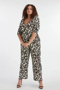 MS Mode gebloemde jumpsuit zwart/wit, Zwart/wit