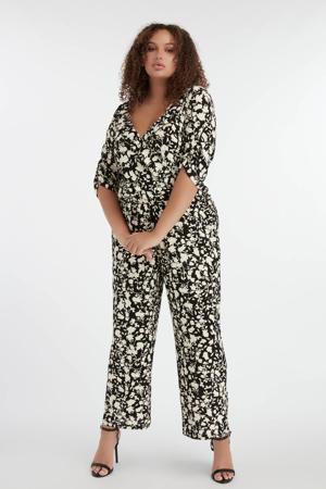 gebloemde jumpsuit zwart/wit