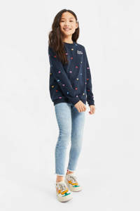 WE Fashion longsleeve met all over print donkerblauw, Donkerblauw