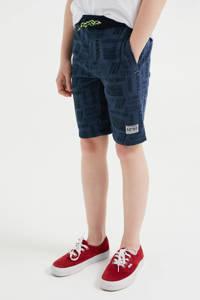 WE Fashion slim fit sweatshort met all over print donkerblauw, Donkerblauw