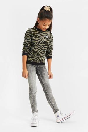 longsleeve met zebraprint army groen/zwart