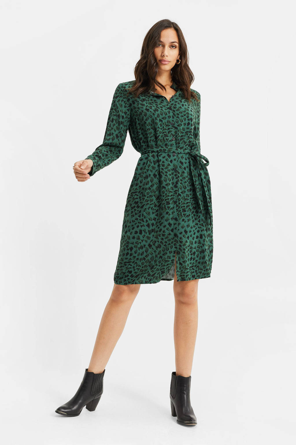 WE Fashion jurk met all over print trekking green, Trekking Green