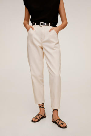 high waist tapered fit jeans gebroken wit
