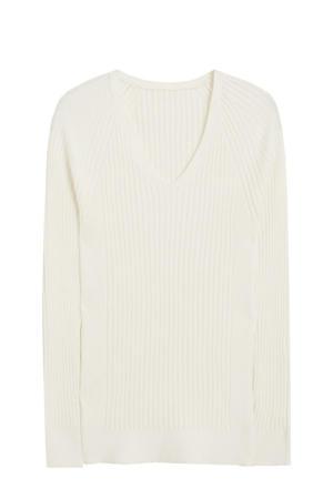 fijngebreide trui gebroken wit