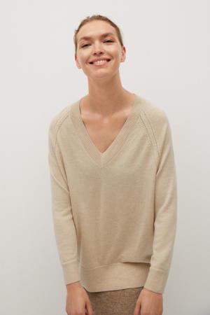 fijngebreide trui met wol zand