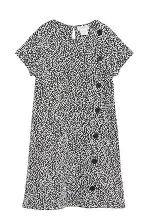jurk met panterprint ecru/zwart