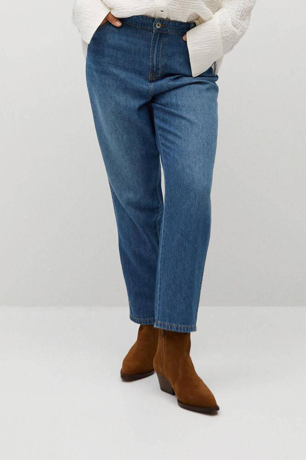 Violeta by Mango cropped low waist regular fit jeans dark denim, Dark denim