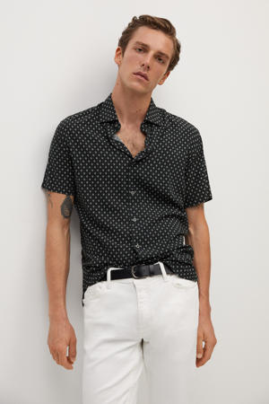 slim fit overhemd met all over print zwart