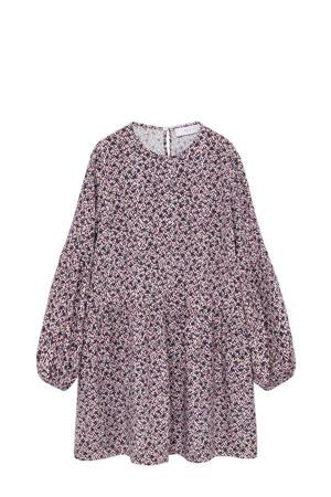 gebloemde blousejurk lichtroze